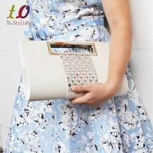 White envelope bag diamante Crystal Evening Clutch Bag Crocodile grain PU leather women messenger Handbag Ladies shoulder bags