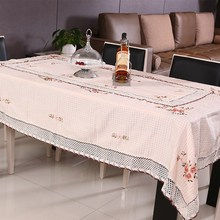 Elegant Linen Embroidery Table Cloth For Wedding Home Flower Print Lace Edge Round/Rectangle Table Decor Cover