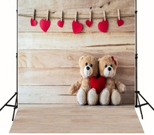 New 2017 Free Shipping Vinyl indoor computer print photography background cloth Valentine's Day Teddy Bear Wooden Background