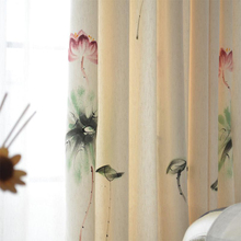 Linen linen painted hand painted ink bedroom / living room / study low profile new Chinese style custom custom curtains(China)
