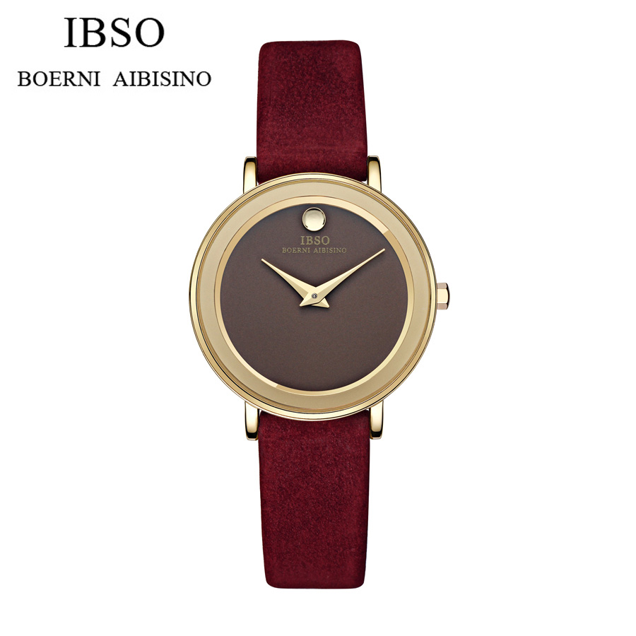 2016 Branded IBSO Watches Women Gold Luxury 30m Waterproof Genuine Leather Band Round Analog Quartz Wristwatch With Logo<br>