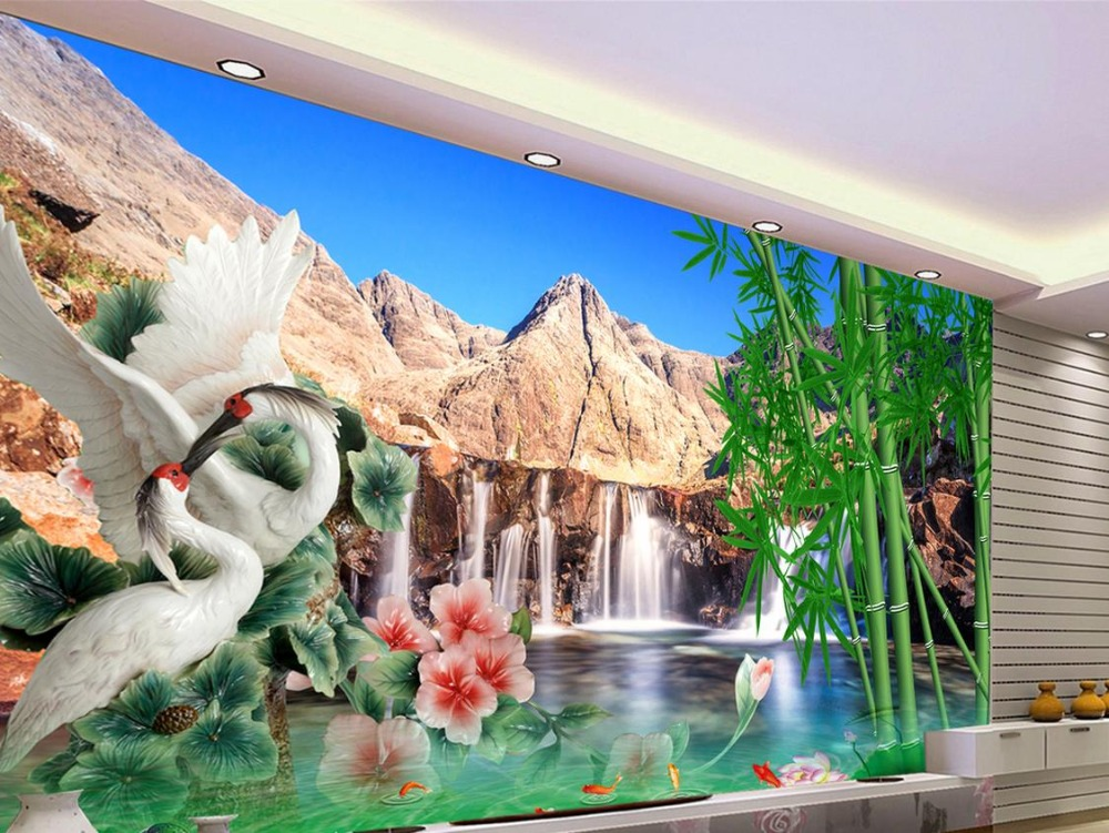 wallpaper scenery for walls Custom 3d background wallpapers Waterfall Crane Bamboo Forest 3d wall murals wallpaper for bathroom<br>
