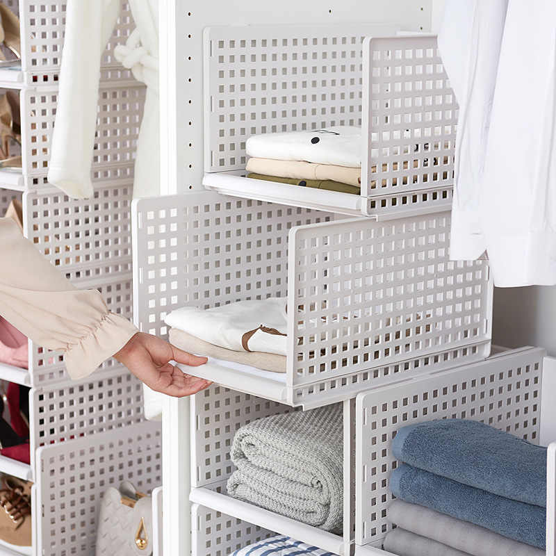 Wardrobe foldable pull-out clothes finishing layered partition plastic storage basket rack drawer storage box