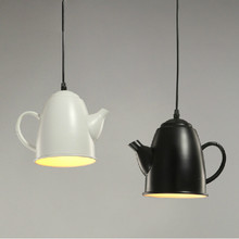 New Creative Personality Retro 5 Colors Iron Tea Pot Led E27 Pendant Lamp For Dining Room Living Room Bar Restaurant Deco 1950(China)