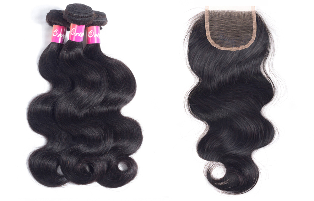 Originea Brazilian Body Wave Remy Human Hair 3 Bundles With 4*4 Lace Frontal Closure Bundles With Closure razilian malaysian peruvian natural body wave 3 and 4 bundles human hair sew in with frontal closure