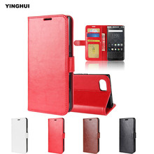 "YINGHUI Crazy Horse Pattern Wallet Leather Case for Blackberry Keyone Mercury DTEK70 4.5"" Capas Silicone Fundas Flip Back Cover"