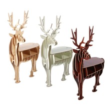 3D DIY Wood Puzzles Wooden Animal Elk Toys Handmade Storage Shelves Holder Home Showcase Decoration Wooden Deer Home Gift