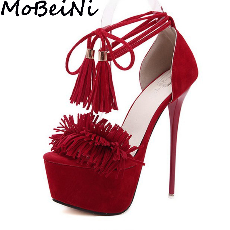 Mobeini Women High Heel Stiletto Sexy Fetish Party Clubwear Shoes Peep Toe Tassel Fringe Lace Up Ankle Strap Platform Pump Shoes<br>