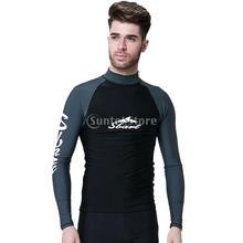 Mens Anti UV Rash Guard Swimwear Long Sleeve Wetsuit Top Spring Suits Shirts for Scuba Diving Surfing Snorkeling Swimming