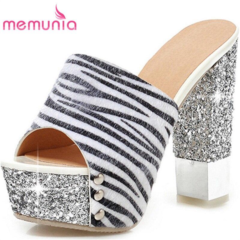 MEMUNIA fashion peep toe print platform summer shoes new arrive women high heels sandals  prom shoes big size 34-43<br>
