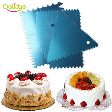 Delidge 4pcs/set  Aluminium Alloy With Toothed Blade Butter Scraper Fondant Cake Decorating Christmas Pastry Baking Tools