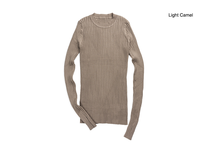 Women Sweater Pullover Basic Rib Knitted Cotton Tops Solid Crew Neck Essential Jumper Long Sleeve Sweaters Autumn Winter 17 9