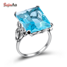 Szjinao Gold Silver Jewelry Manufacturer Direct Wholesale One Carving Master Square Blue Crystal Women 925 Sterling Silver Ring