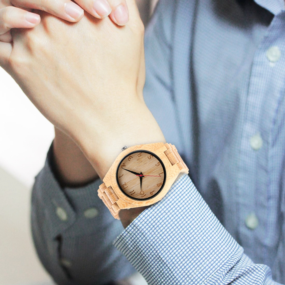 Bamboo Male Watch Handmade Engraving Numbers Dial Natural Wooden Wristwatch 100% Full Wood Bangle Men\'s Sport Quartz Clock Hours 2017 Gifts (8)