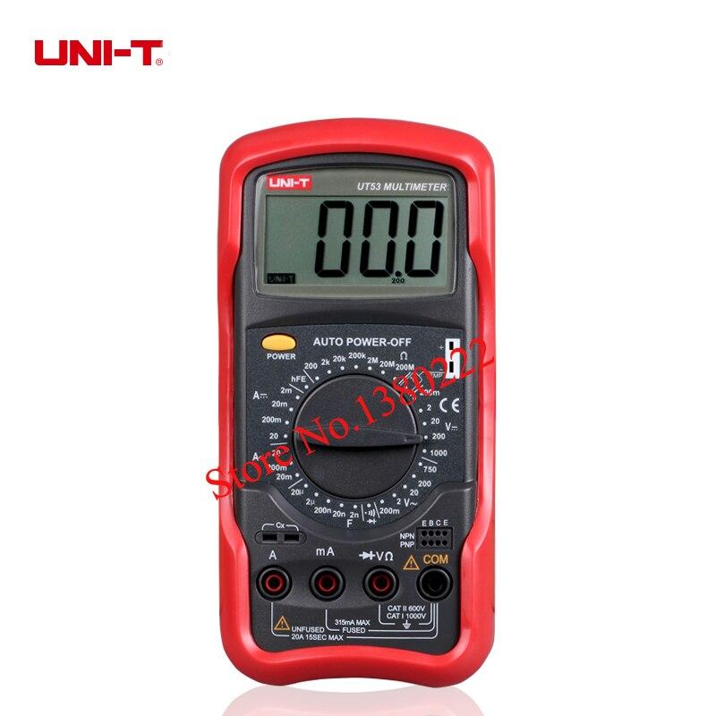 UNI-T UT53 digital multimeter resistance measurement diode/transistor test digital display AC/DC multimeter Ammeter<br>