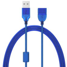 0.3M 0.5M 1.5M 3M 5M New USB2.0 Extension Cable Male to Female USB Adapter Transparent Blue Anti-interference Dual Shielding(China)