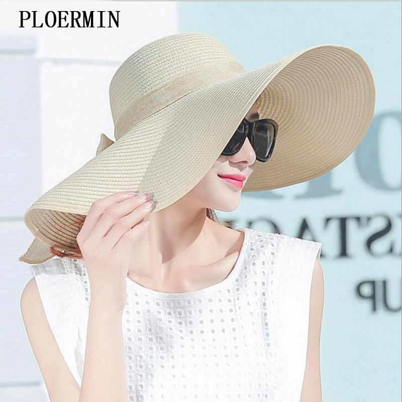 Elegant Style Summer Large Brim Straw Hat Adult Women Girls Fashion Sun Hat uv Protect Big Bow Summer Beach Hat(China)