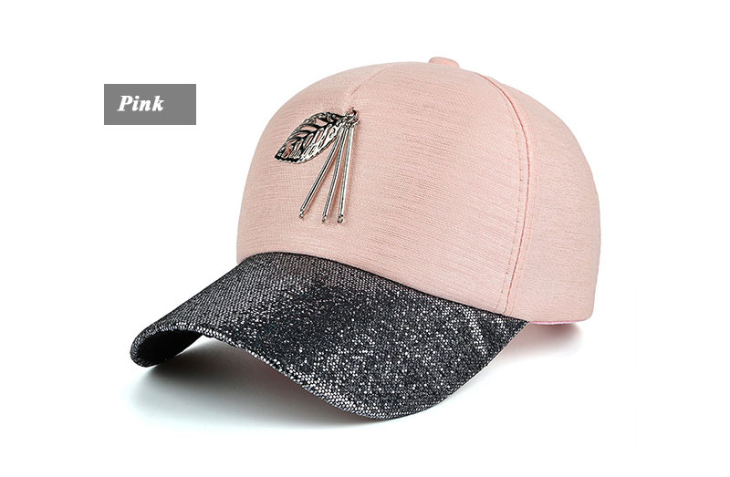 Dangling Leaf Snapback Cap - Pink Cap with Gray Glitter Brim Front Angle View