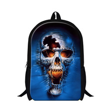 2016 New Hot Student Style Ghost Rider 3D Print School Backpack For Teenagers Cool Skull Face Mens Casual Travel Bags School Bag