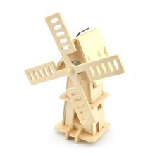 Hot Sale DIY Painting Puzzle Solar Powered 3D Wooden Small Windmill Model Woodcraft Educational Toy