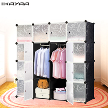 iKayaa US UK FR DE Stock Multi-use Clothes Closet Wardrobe Living Room Cabinet DIY Cloth Shoes Storage Organizer Furniture