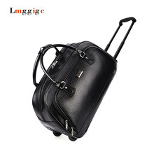 Portable Carry-Ons,folding boarding luggage,male large capacity travel bag,PU waterproof trolley bag,female commercial Suitcase