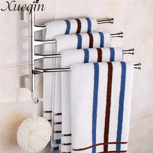 Xueqin Four Tiers Swivel Rotating Bathroom Movable Towel Rack Bars Rotary Storage Hanging Racks Wall Mounted Towel Holder