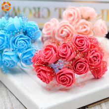 12pcs Artificial Foam Roses Multi Color for Wedding gifts Decoration DIY Wreath Gift Scrapbooking Craft Fake Flower(China)