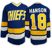 Hockey Jersey 18 Hanson Brothers Jersey Charlestown Chiefs Ice Hockey Jersey White Blue All Stitched Movie Jerseys Free Shipping(China)
