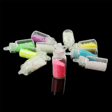 10pcs 1set glowing in the dark Nail Art sand Colorful noctilucent Wishing Shining  Luminous sand for DIY  Fluorescent particles