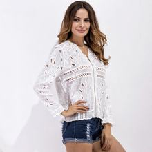 Buy New 2017 Spring Summer White Hollow Embroidery Blouse Shirt Women Sexy V Neck Long Sleeve Casual Zipper Blouse Outwear 1504 for $17.40 in AliExpress store