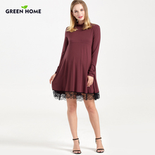 Green Home Maternity Dress Lace Modal Long Sleeve Winter Pregnancy Clothing Thicken For Women Wear Nursing Breastfeeding Dress(China)