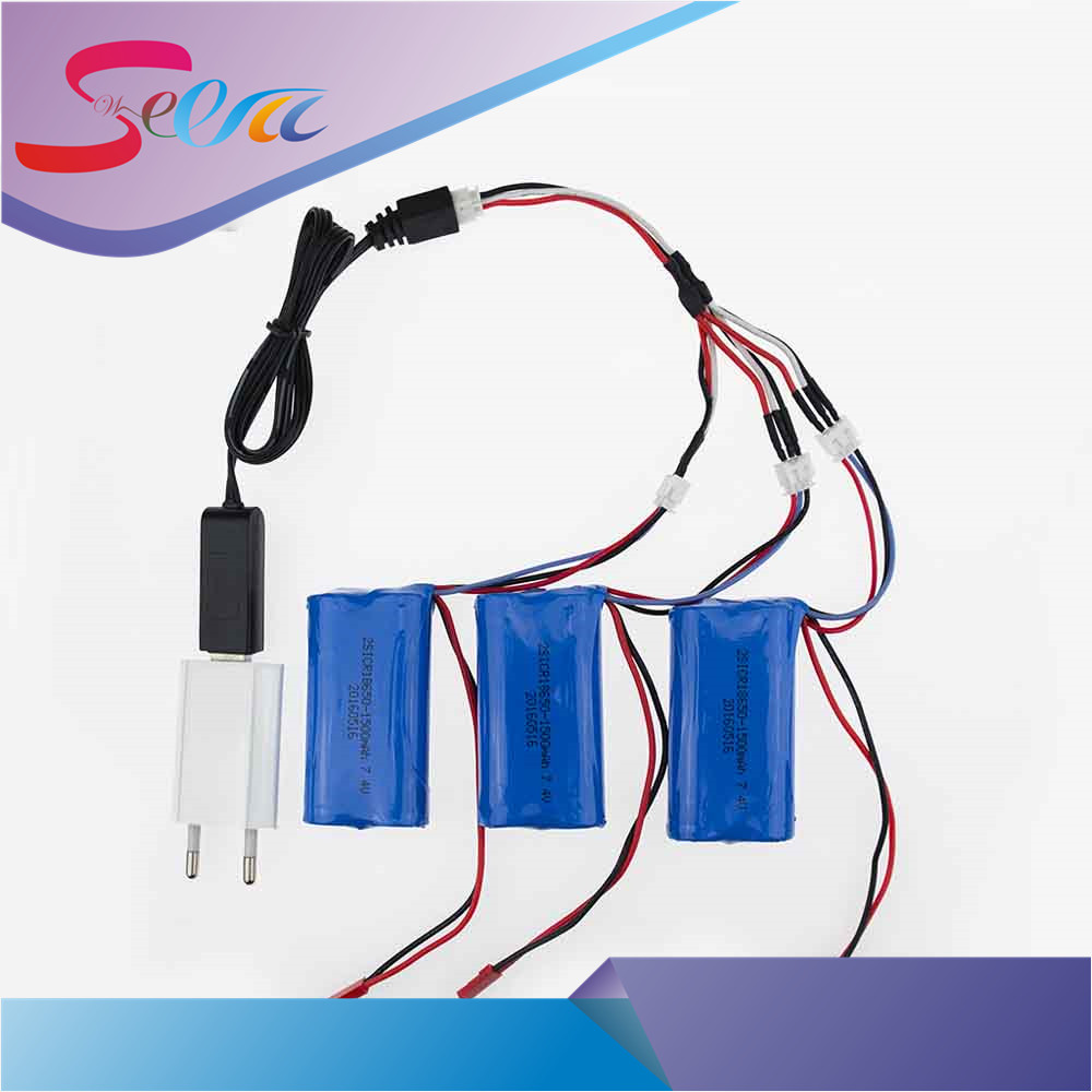 3pcs 7.4 V 1500mah li-po lipo battery With USB Charger Plug 3in1 Cable Set For DH9053 9101mjx f45 9118 rc Helicopter parts<br>