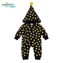 Designer Funny Baby Clothing Hooded Romper Newborn Boys Clothes Star Print Girls Jumpsuit Halloween Xmas Clothing Roupa Infantil