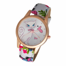 2017 New Fashion Cute watches Women and Children Favor cat Cartoon watches Casual quartz wristWatches For LOVERS Gift CN0692-3