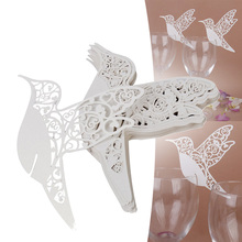 Super Deal 50pcs/Pack Birds Wedding Table Paper Place Card Escort Name Card Wine Glass Card #87933(China)