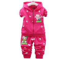 Kids Clothes Sets Fashion Spring&Autumn 2pcs Sets Skirt Suit Hello Kitty Baby Girls Clothing Sets Hoodies +Pants size:0-4years