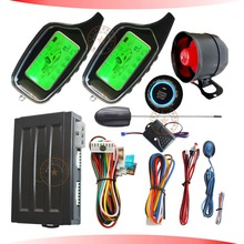 2 way auto car alarm system with engine start stop button and shock sensor alarm(China)