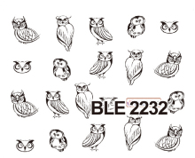 1sheets Fashion Black Owl Printing Nail Art Decals Water Transfer Stickers DIY nails tips Decorations Manicure Tools BLE2232