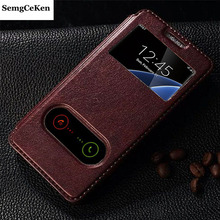 Buy SemgCeKen luxury original leather case samsung galaxy alpha g850 g850f pu view phone 850 flip window retro stand cover coque for $3.98 in AliExpress store