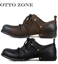 OTTO Top Quality Handmade Genuine Cow Leather Ankle Boots Fashion Martin Boots Men Leather Shoes EU 38-44(China)