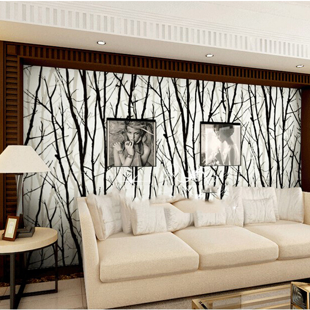 3d abstract tree branch pvc wallpaper easy clean finished for sofa background<br>