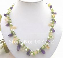 Reborn keshi Pearl&Purple Crystal&Peridot&Yellow Crystal Necklace