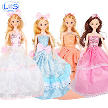 (LONSUN)New Favorite Princess Doll Fashion Party Wedding Dress Suite Moveable Joint Body Classic Toys Girls Best Gift Brinquedo