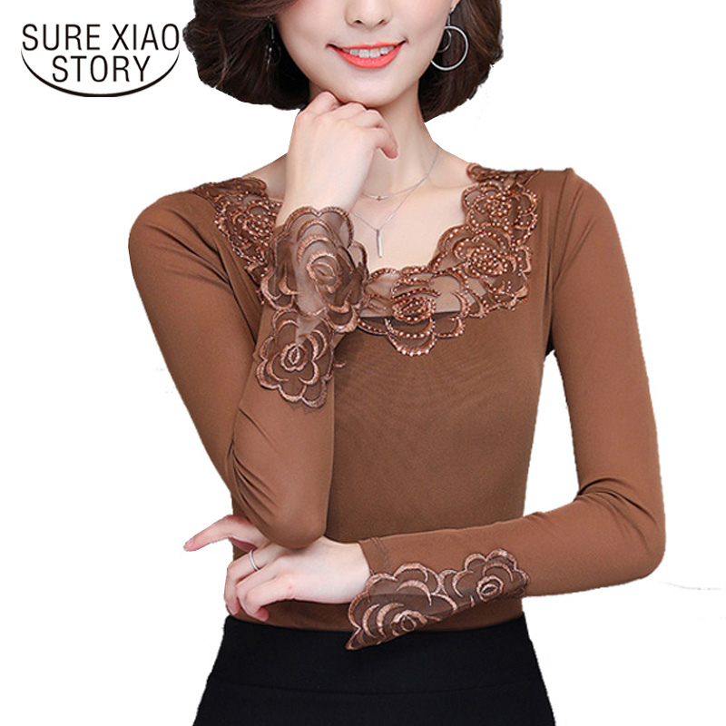Casual Style 2017 New autumn long Sleeved women Blouse high slim hollow lace women blusas clothing shirt top 500A 30