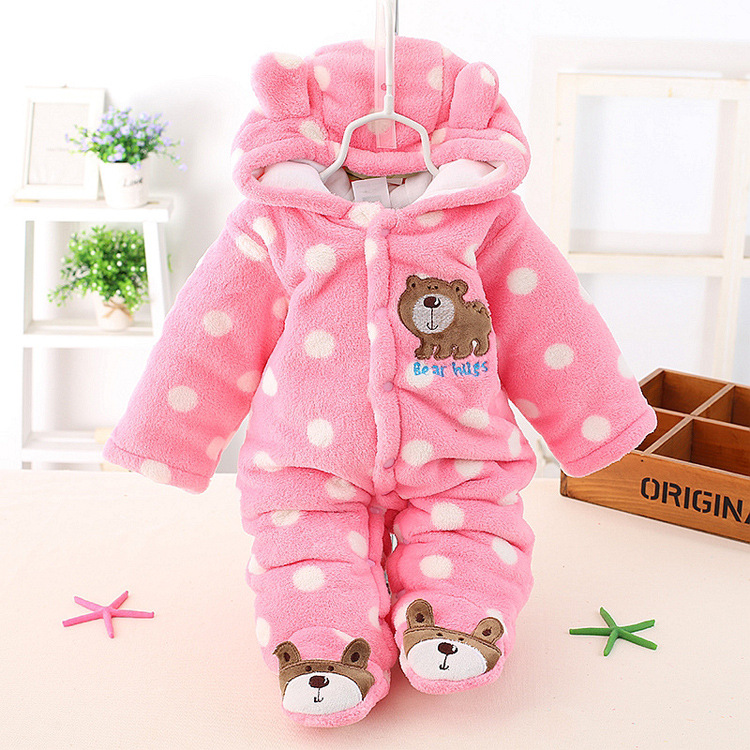 Free shipping HOT! Winter Thicken Baby Clothing Unisex Cute Bear Baby Rompers NewBorn Baby dot Velvet  Romper<br><br>Aliexpress