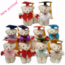 14cm Cute cartoon bouquet Teddy Bear Plush Toy Staffed Graduation bear Plush Bear Doll Graduation Gfit Brinquedos 10 pcs/lot