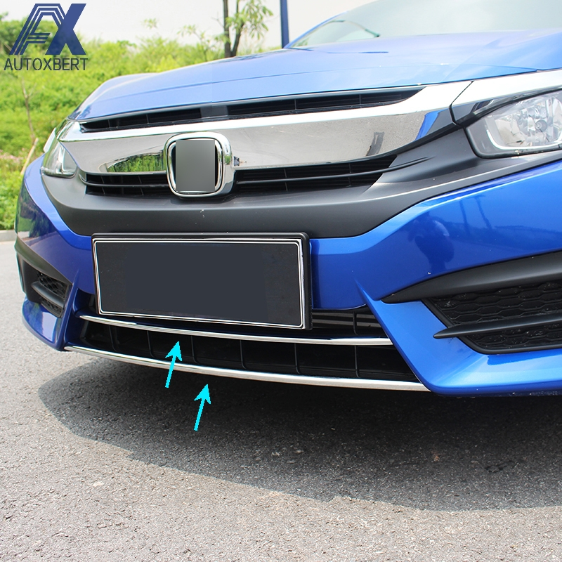 AX 2PCS FOR 2016 2017 HONDA CIVIC CHROME FRONT LOWER BUMPER LIP GRILL COVER INSERT PROTECTOR MOLDING TRIM GRILLE GARNISH GUARD(China (Mainland))