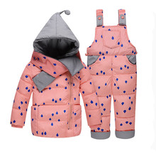 Baby Girl Winter Down Clothing Sets Winter Dot Print Hooded Newborn Infant Bebes Snow Outwear Coat +Overalls Pants+Scarf(China)