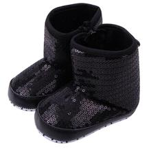 abcd New Fashion brand Children Baby shoes slippers Sequins Soft Sole Warm Boots Kids First Walkers For Girl Boy(China)
